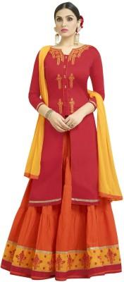 Viva N Diva Embroidered, Self Design Unstitched Lehenga, Choli and Dupatta Set(Red)