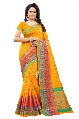 Cartyshop Woven Kanjivaram Acrylic Blend, Art Silk, Cotton Silk Saree(Yellow)