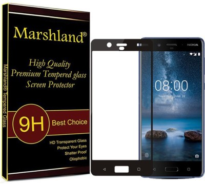 Marshland Tempered Glass Guard for Nokia 8 3D 0.3mm Thickness 9H Hardness Bubble Free Coating Screen protector for Nokia 8 (Black)(Pack of 1)