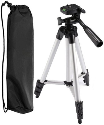 Klick n Shop ™ Premium Quality Tripod Stand 360 Degree 940mm Extendable Stretch 3110 Portable Digital Camera Mobile Stand Holder Camcorder Tripod Stand Lightweight Aluminum Flexible Portable Three-way Head Compatible with Sony Canon Nikon Tripod(Silver, Supports Up to 1500 g)  available at flipkart for Rs.1499