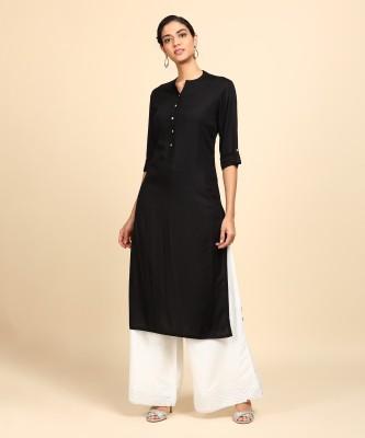 Vishudh Women Solid Straight Kurta(Black)