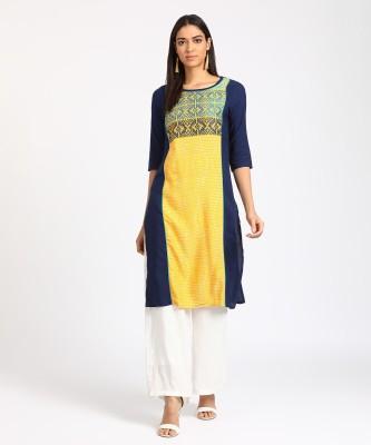 Aurelia Women Self Design A-line Kurta(Yellow, Dark Blue)