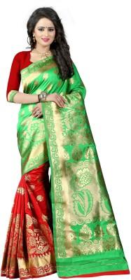 The Fashion Outlets Self Design, Plain Banarasi Cotton, Silk Saree(Green)
