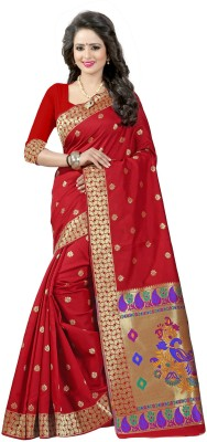 Creative Work Checkered, Embellished, Embroidered, Paisley, Plain, Printed, Solid, Striped, Woven Paithani Art Silk, Cotton, Jacquard, Silk Saree(Red, Brown) Flipkart