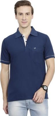 Clasy Solid Men Polo Neck Dark Blue T-Shirt