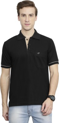 McHenry Solid Men Polo Neck Black T-Shirt