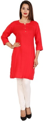 BluePocket Women Solid Straight Kurta(Red)