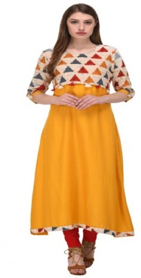 Sukhvilas Fashion Festive & Party Printed Women Kurti(Yellow)