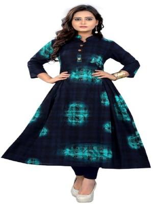 Sukhvilas Fashion Festive & Party Printed Women Kurti(Dark Blue)