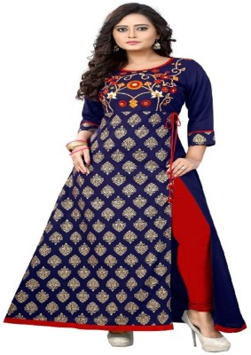Sukhvilas Fashion Festive & Party Printed Women Kurti(Blue)