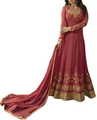 Kings Fashion Bazar Georgette Embroidered Semi-stitched Salwar Suit Dupatta Material