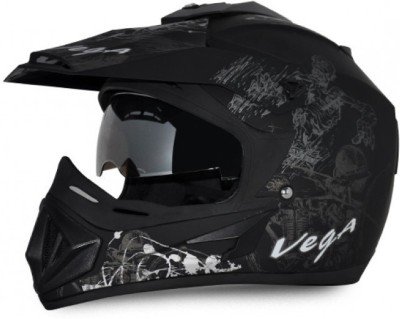 VEGA Off Road D/V Sketch Dull Black Base With Silver Graphic Helmet Motorbike Helmet(DULL GREEN Silver)