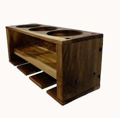 PeachCherry Wine Rack ( 3 bottles 3 glasses) (Teak wood) Wooden Wall Shelf(Number of Shelves - 1, Brown)