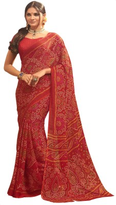 Design Willa Printed Bandhani Chiffon Saree(Maroon) Flipkart