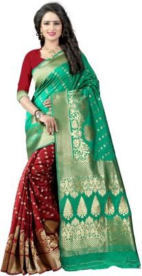 Pehnava Woven Banarasi Polycotton, Jacquard Saree(Light Green, Maroon, Beige)