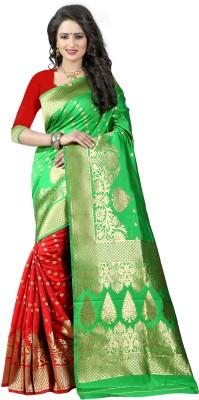 Pehnava Woven Banarasi Polycotton, Jacquard Saree(Green, Red, Beige)