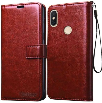 Bracevor Flip Cover for Mi Redmi Y2(Executive Brown, Leather)
