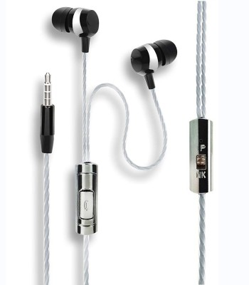 KBOOM Earphones Headphones, Wired Headset with Mic(Black, In the Ear)