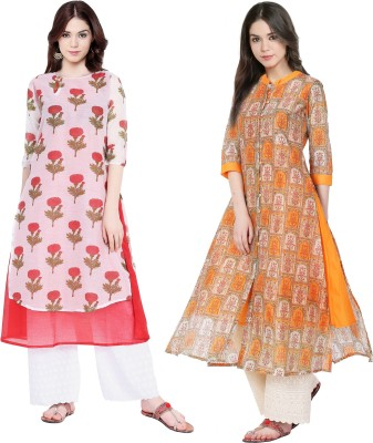 Vedana Casual Floral Print Women Kurti(Pack of 2, Brown)