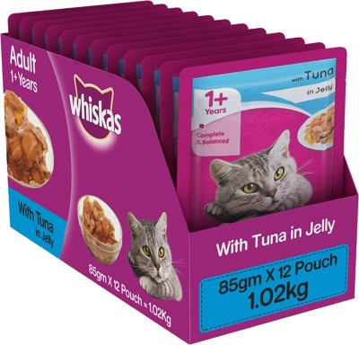 Whiskas Kitten Wet Food-Jelly Tuna 1.02 kg Wet Cat Food(Pack of 12)