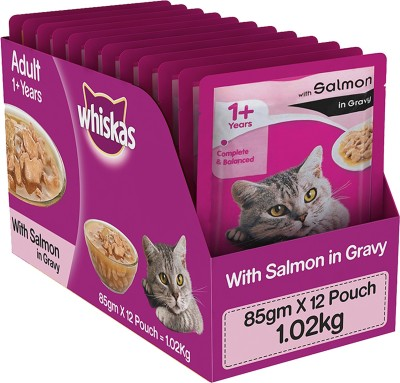 Whiskas Adult (+1 year) Salmon 1.02 kg Wet Cat Food(Pack of 12)