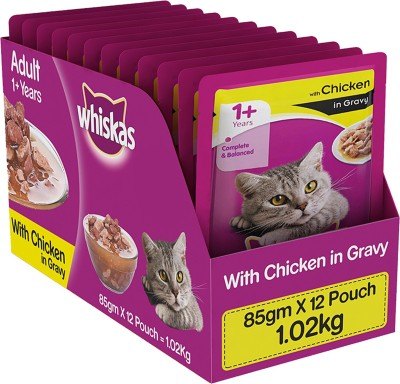 Whiskas Adult (+1 Year) Wet Food in Gravy Chicken 1.02 kg Wet Cat Food(Pack of 12)