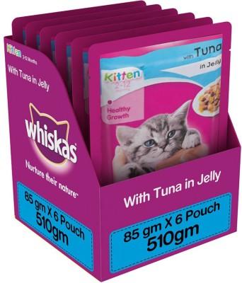 Whiskas Kitten (2-12 months) Tuna 0.51 kg Wet Cat Food(Pack of 6)