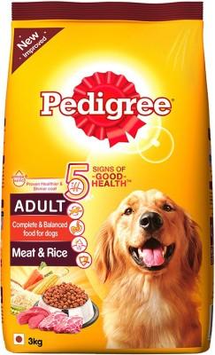 Pedigree Adult Meat Rice 3 kg Dry Dog Food