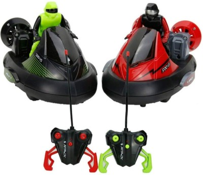 Smilemakers RC Racing Bumper Car Toy with Driver Action Figure Stunt Vehicle Set of 2 Cars to Compete(Red, Green) Flipkart