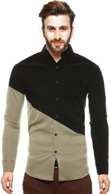 Tripr Men Colorblocked Casual Black, Beige Shirt