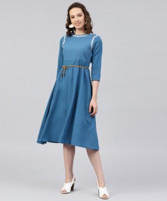 Sassafras Women A-line Blue Dress