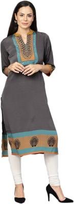 Shree Women Striped Straight Kurta(Yellow)