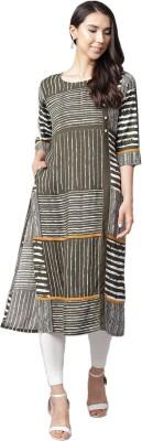 Shree Women Striped Straight Kurta(Grey)