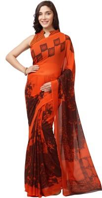 Mirchi Fashion Printed Daily Wear Faux Georgette Saree(Orange)