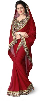 Kasturi Fashion Printed Daily Wear Chiffon Saree(Maroon) Flipkart