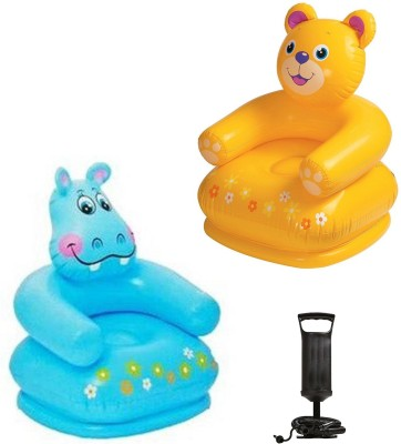 Speoma BLUE ANIMAL CHAIR,YELLOW ANIMAL CHAIR AND AIR PUMP INFLATABLE TOYS FOR KIDS Inflatable Sofa/ Chair(Multicolor)