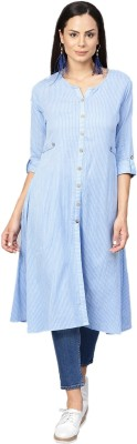 Shree Women Striped Frontslit Kurta(Blue, White)