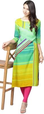 Shree Women Striped, Printed Straight Kurta(Multicolor)