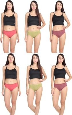 NOHUNT Women Hipster Multicolor Panty(Pack of 6)