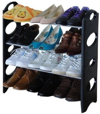 Speed Plastic, PP (Polypropylene) Collapsible Shoe Stand(Black, 4 Shelves)
