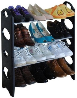 Flipzon Shoe 4-5 layer Cloth Cabinet, Shoe Rack Organiser Steel Collapsible Shoe Stand(Blue, 4 Shelves)