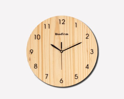 Wood Trim Analog Wall Clock(Brown, Multicolor, Without Glass)
