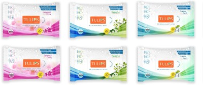 Tulips Refreshing Wet Wipes Japaness Cherry, Magnolia and Summer Fresh 20 Wipes Each (Pack of 6)(6 Pieces)