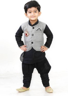 Digimart Boys Festive & Party Kurta, Waistcoat and Pyjama Set(Black Pack of 1)