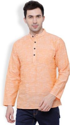 Svanik Men Solid Straight Kurta(Pink)