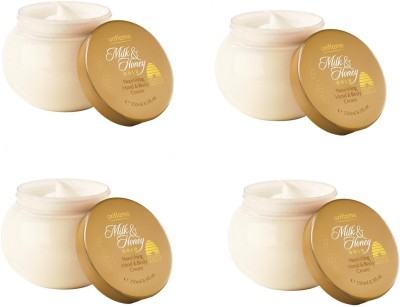 Oriflame Sweden Oriflame Milk & Honey Gold nourishing Hand & Body Cream 250gm each (Pack of 4)(1000 g)