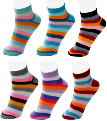Chartbusters Women Striped Ankle Length(Pack of 6)