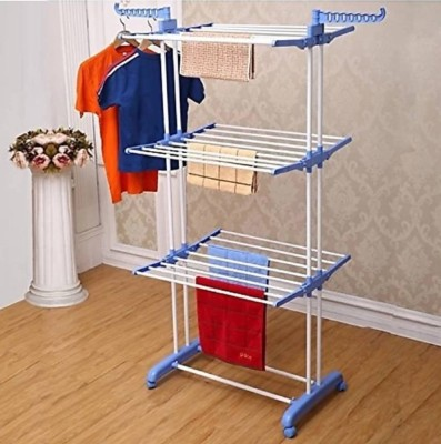 SUNDEX double pipes supports Drying Stand with wheels (sky blue) Stainless Steel Floor Cloth Dryer Stand(Blue)