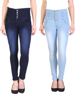 Manash Fashion Slim Women Blue, Light Blue Jeans(Pack of 2)