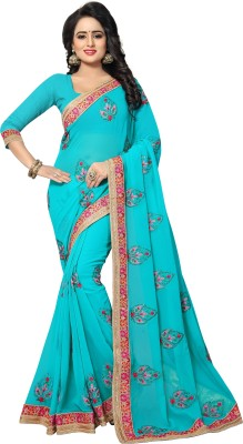 PR Fashion Embroidered Fashion Georgette Saree(Blue) Flipkart